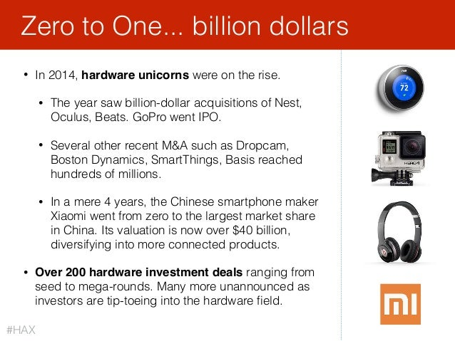18 • In 2014, hardware unicorns were on the rise. • The year saw billion-dollar acquisitions of Nest, Oculus, Beats. GoPro...