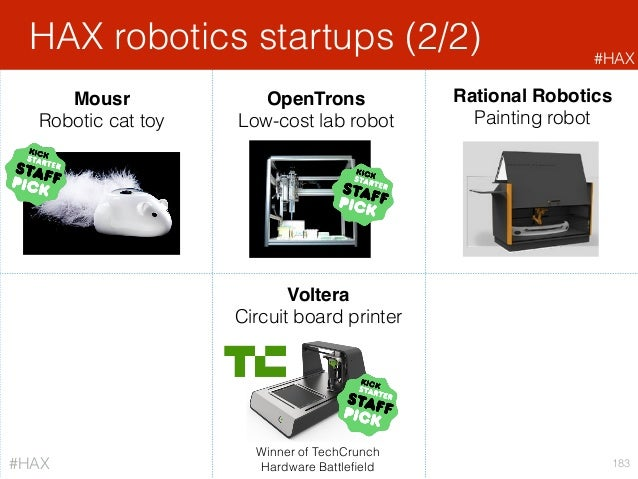 HAX robotics startups (2/2) 183 Rational Robotics Painting robot OpenTrons Low-cost lab robot Mousr Robotic cat toy Volter...
