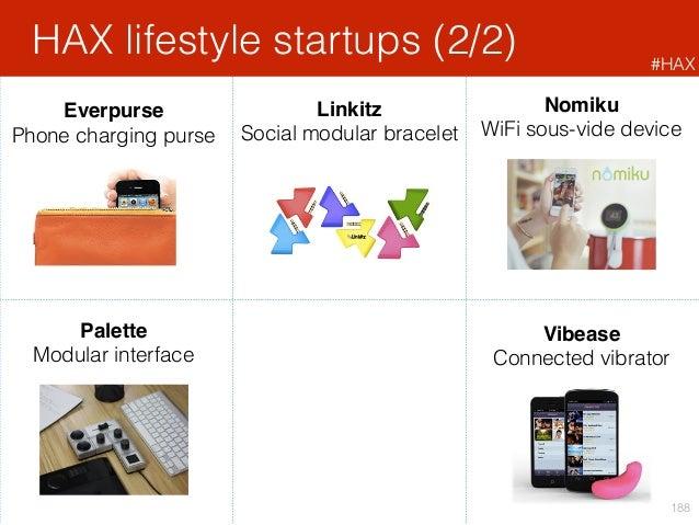 HAX lifestyle startups (2/2) 188 Vibease Connected vibrator Nomiku WiFi sous-vide device Palette Modular interface Everpur...
