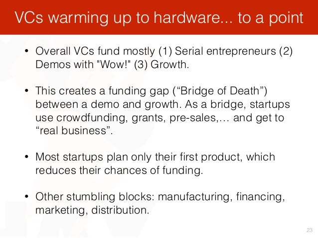 """23 • Overall VCs fund mostly (1) Serial entrepreneurs (2) Demos with """"Wow!"""" (3) Growth. • This creates a funding gap (""""Bri..."""