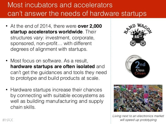42 • At the end of 2014, there were over 2,000 startup accelerators worldwide. Their structures vary: investment, corporat...