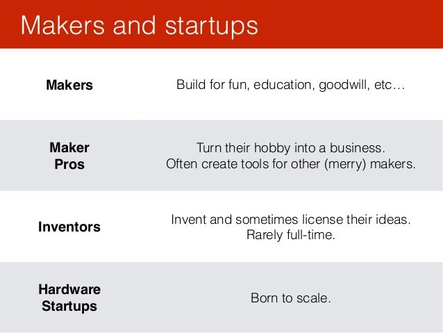 Makers and startups 43 Makers Build for fun, education, goodwill, etc… Maker Pros Turn their hobby into a business. Ofte...
