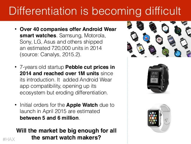 52 • Over 40 companies offer Android Wear smart watches. Samsung, Motorola, Sony, LG, Asus and others shipped an estimate...