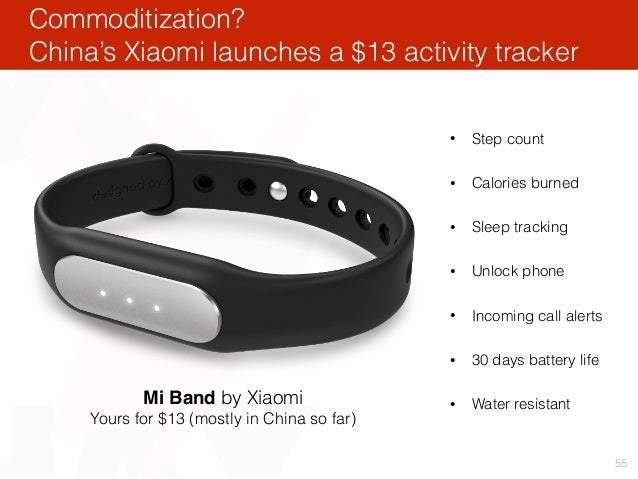 Commoditization? China's Xiaomi launches a $13 activity tracker 55 Mi Band by Xiaomi Yours for $13 (mostly in China so far...