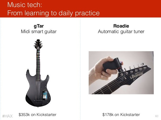 Music tech: From learning to daily practice 60 gTar Midi smart guitar Roadie Automatic guitar tuner $353k on Kickstarter $...