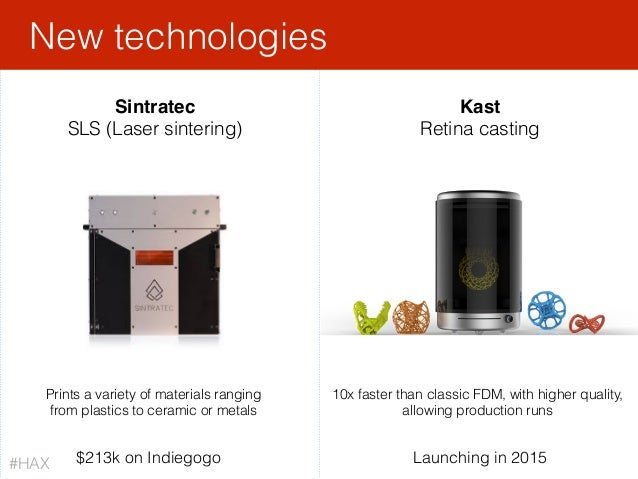 Sintratec SLS (Laser sintering) Kast Retina casting $213k on Indiegogo New technologies Prints a variety of materials rang...