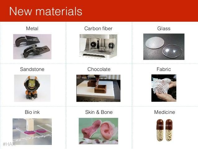 New materials Metal Carbon fiber Chocolate Bio ink Skin & Bone Sandstone Glass Medicine Fabric #HAX