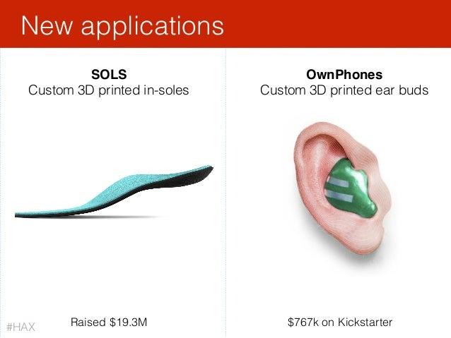 New applications OwnPhones Custom 3D printed ear buds $767k on Kickstarter#HAX SOLS Custom 3D printed in-soles Raised $19....