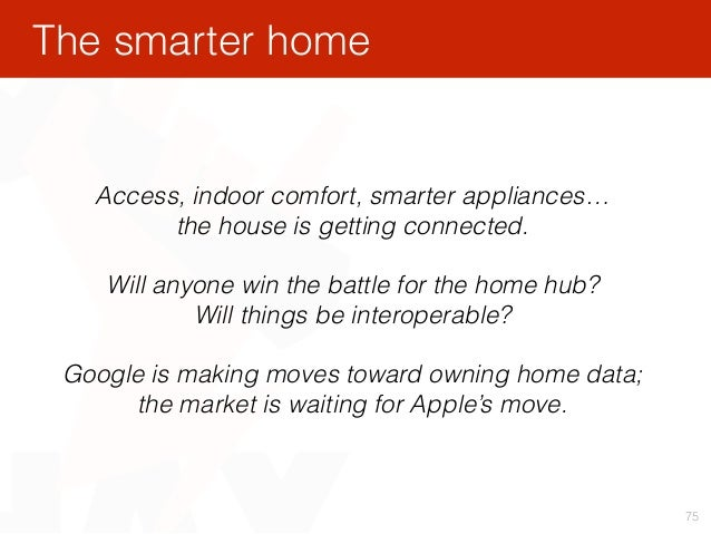 75 Access, indoor comfort, smarter appliances… the house is getting connected. Will anyone win the battle for the home hu...