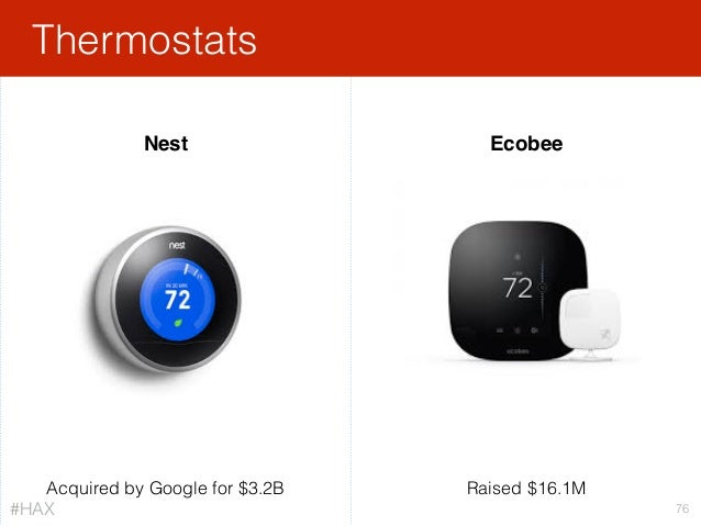 Thermostats 76 Acquired by Google for $3.2B Nest Ecobee Raised $16.1M #HAX