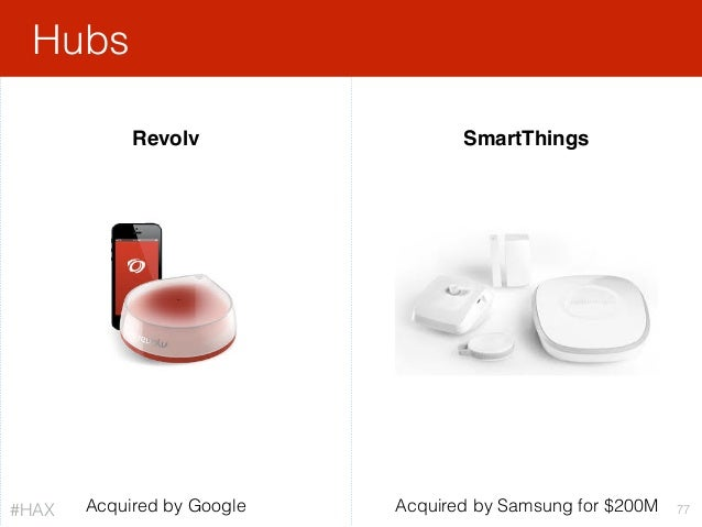 Hubs 77 SmartThings Acquired by Samsung for $200MAcquired by Google Revolv #HAX