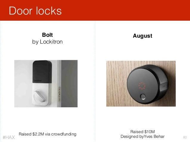 Door locks 80 Bolt by Lockitron August Raised $10M Designed byYves Behar Raised $2.2M via crowdfunding #HAX