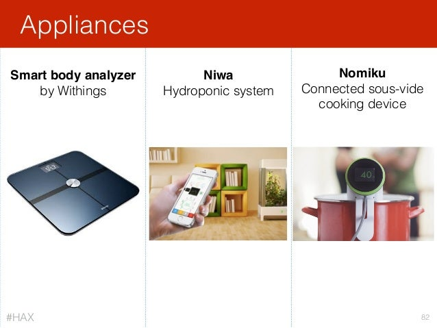 Appliances 82 Smart body analyzer by Withings Nomiku Connected sous-vide cooking device Niwa Hydroponic system #HAX