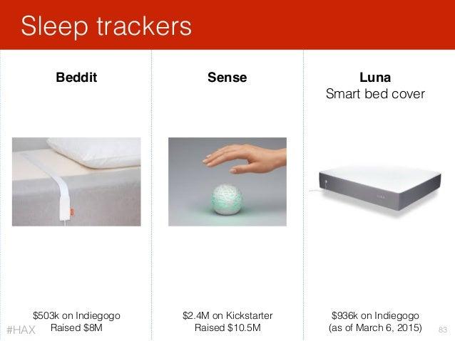 Sleep trackers 83 Beddit Sense $503k on Indiegogo Raised $8M $2.4M on Kickstarter Raised $10.5M Luna Smart bed cover $936k...