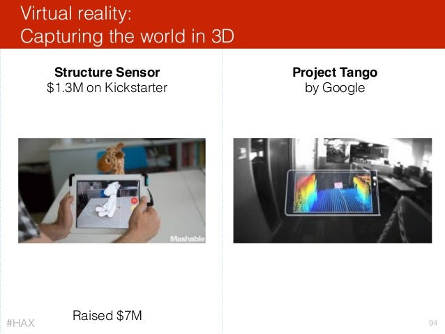 Virtual reality: Capturing the world in 3D 94 Structure Sensor $1.3M on Kickstarter Project Tango by Google Raised $7M #H...