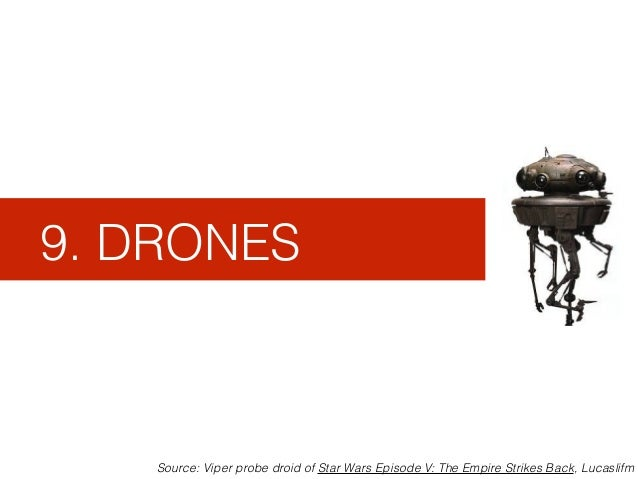 9. DRONES Source: Viper probe droid of Star Wars Episode V: The Empire Strikes Back, Lucaslifm