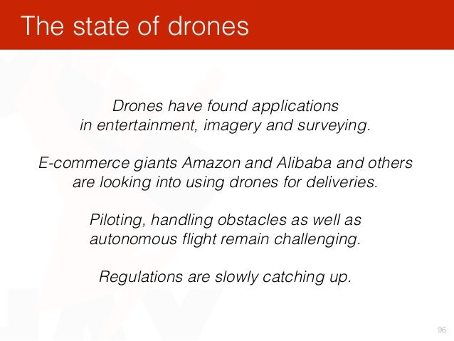 96 Drones have found applications in entertainment, imagery and surveying. E-commerce giants Amazon and Alibaba and other...