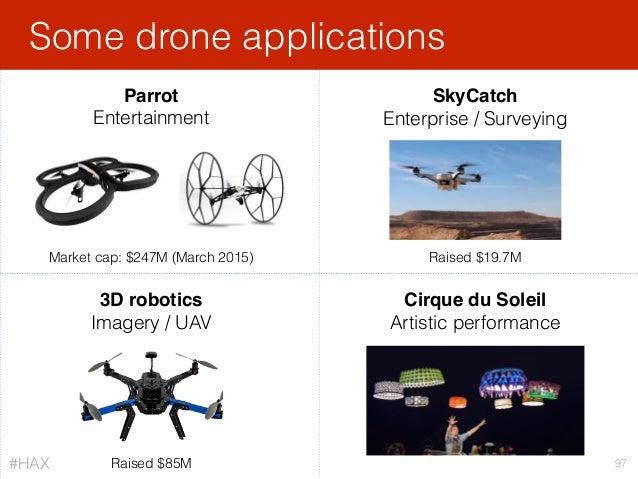 Parrot Entertainment Some drone applications 97 SkyCatch Enterprise / Surveying 3D robotics Imagery / UAV Cirque du Soleil...