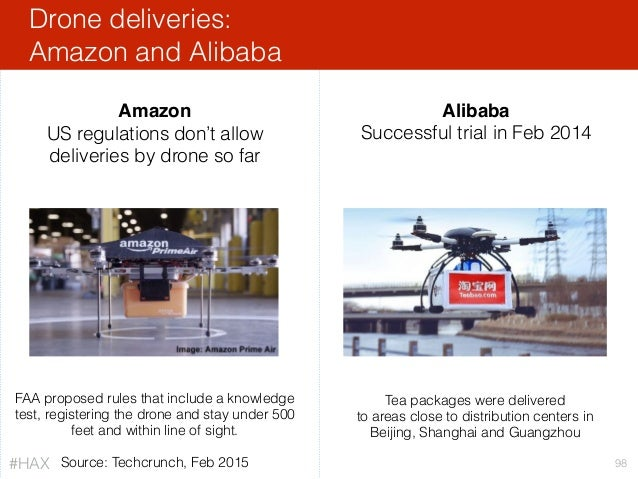 Drone deliveries: Amazon and Alibaba 98 Alibaba Successful trial in Feb 2014 Amazon US regulations don't allow deliveries...
