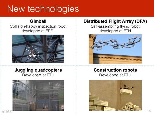 New technologies 99 Gimball Collision-happy inspection robot developed at EPFL Distributed Flight Array (DFA) Self-assemb...