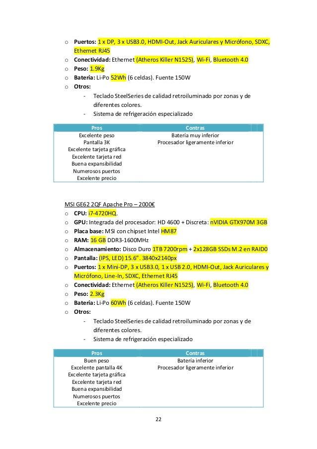 22 o Puertos: 1 x DP, 3 x USB3.0, HDMI-Out, Jack Auriculares y Micrófono, SDXC, Ethernet RJ45 o Conectividad: Ethernet (At...