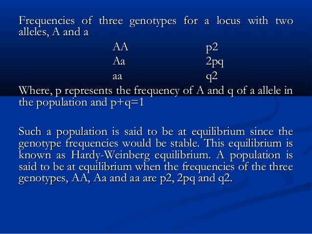 Frequencies of three genotypes for a locus with twoFrequencies of three genotypes for a locus with two alleles, A and aall...