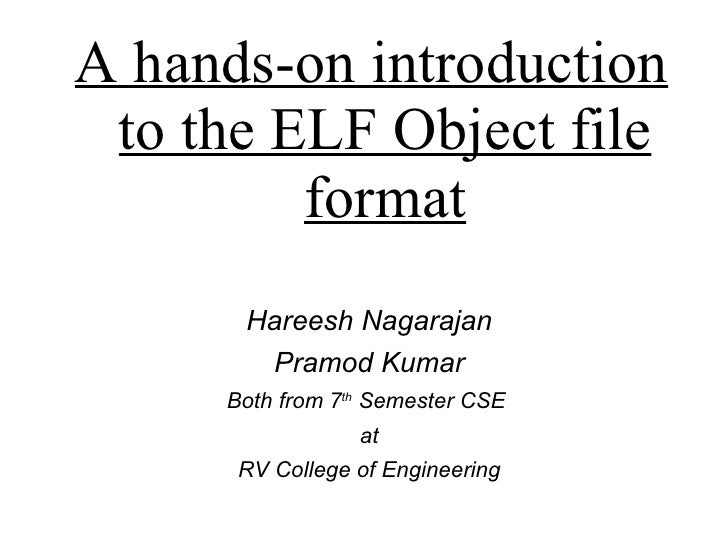 Hareesh Nagarajan Pramod Kumar Both from 7 th  Semester CSE  at RV College of Engineering A hands-on introduction to the E...