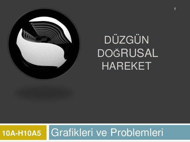 1                       DÜZGÜN                      DOĞRUSAL                       HAREKET10A-H10A5   Grafikleri ve Proble...