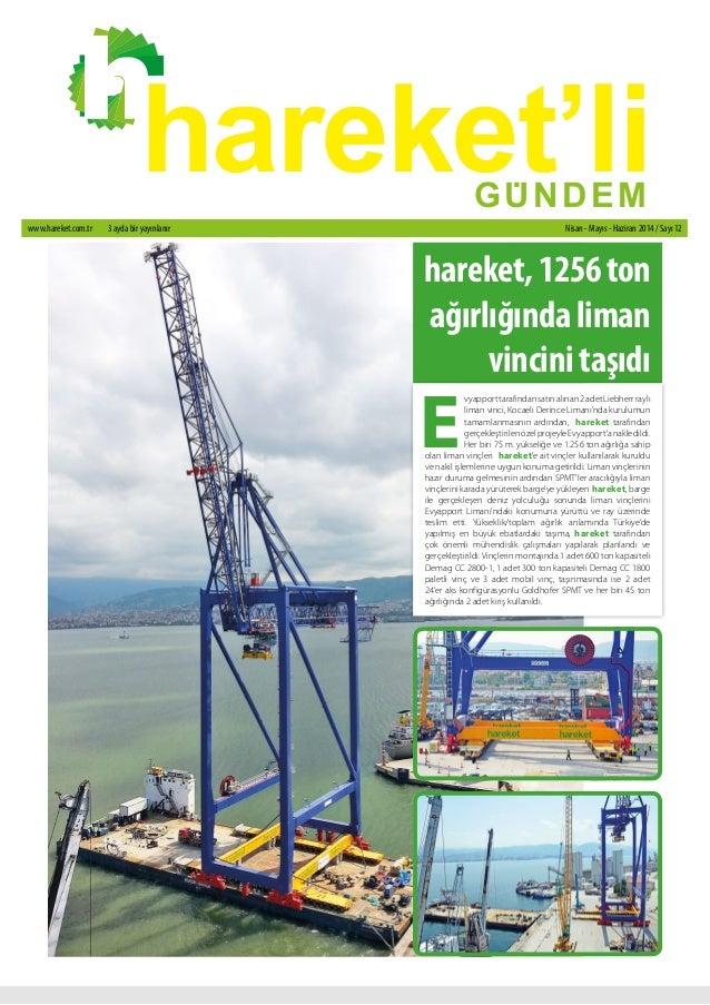 hareket'li GU. NDEM  www.hareket.com.tr 3 ayda bir yayınlanır Nisan - Mayıs - Haziran 2014 / Sayı 12  hareket, 1256 ton  a...
