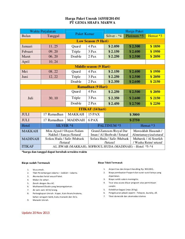 Harga Paket Umrah 1435H/2014M PT GEMA SHAFA MARWA Waktu Perjalanan Bulan Tanggal Januari Febuari Maret April Mei Juni  11,...