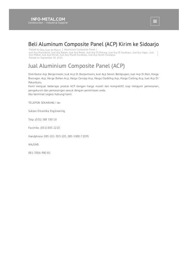 Beli Aluminum Composite Panel (ACP) Kirim ke Sidoarjo Posted by Don Juan de Marco Aluminium Composite Panel Jual Acp Aluco...