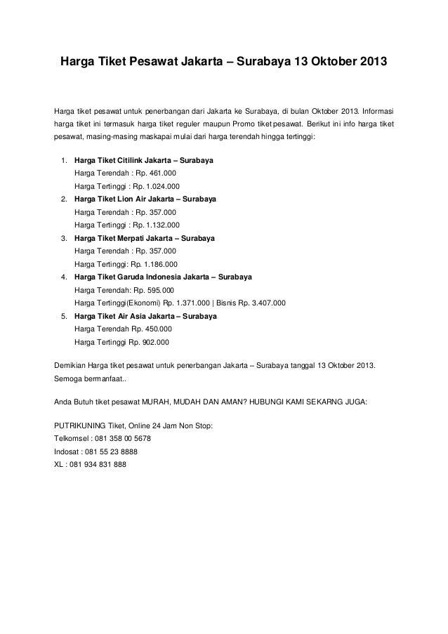 Harga Tiket Pesawat Jakarta Surabaya 13 Oktober 2013