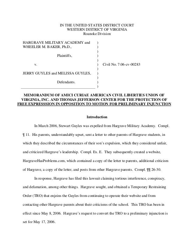 IN THE UNITED STATES DISTRICT COURT WESTERN DISTRICT OF VIRGINIA Roanoke Division HARGRAVE MILITARY ACADEMY and WHEELER M....