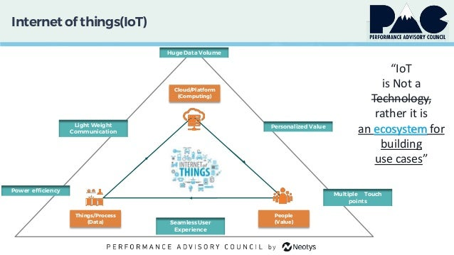 """Internet of things(IoT) """"IoT is Not a Technology, rather it is an ecosystem for building use cases"""" Things/Process (Data) ..."""