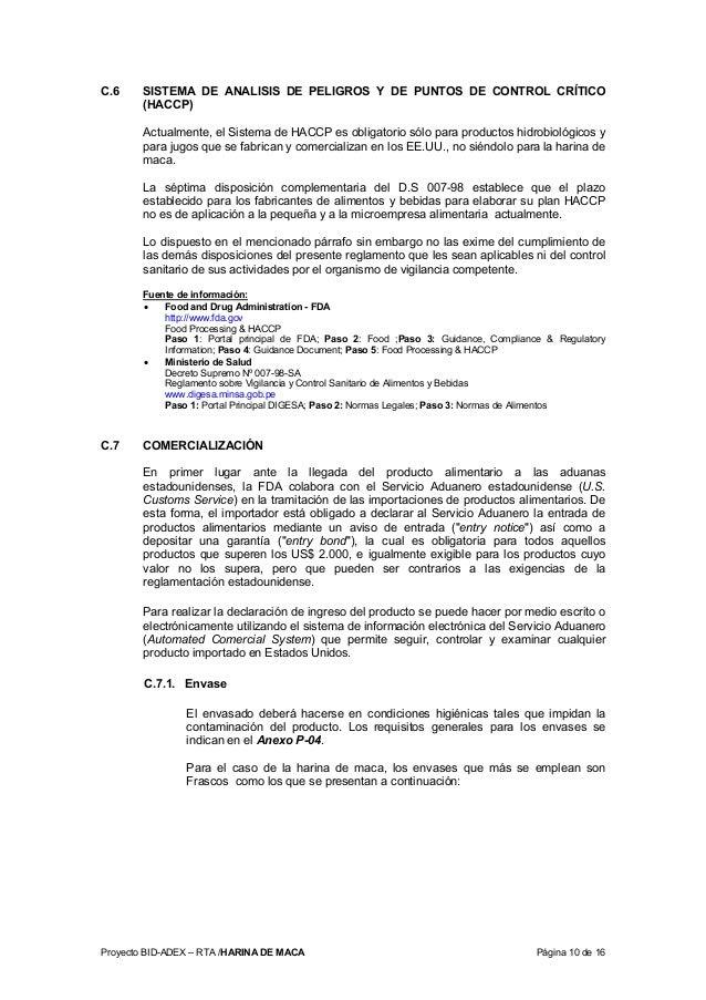 Proyecto BID-ADEX – RTA /HARINA DE MACA Página 10 de 16 C.6 SISTEMA DE ANALISIS DE PELIGROS Y DE PUNTOS DE CONTROL CRÍTICO...