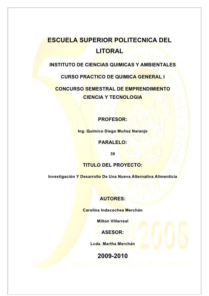 ESCUELA SUPERIOR POLITECNICA DEL                        LITORAL  INSTITUTO DE CIENCIAS QUIMICAS Y AMBIENTALES        CURSO...