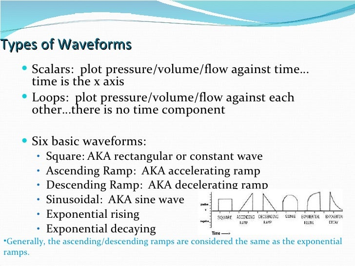 Types of Waveforms Scalars:  plot pressure/volume/flow against time…time is the x axis Loops:  plot pressure/volume/flow a...