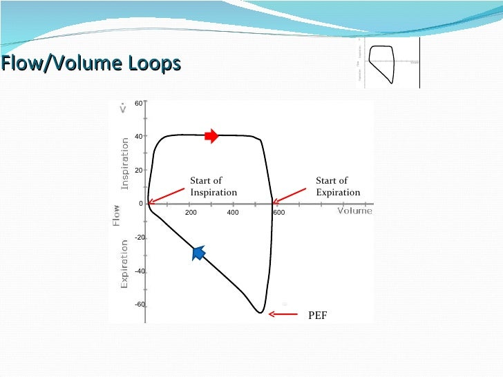 Flow/Volume Loops 0 200 400 600 20 40 60 -20 -40 -60 PEF Start of  Inspiration Start of  Expiration