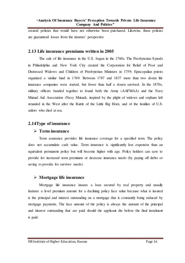Role of private life insurance company