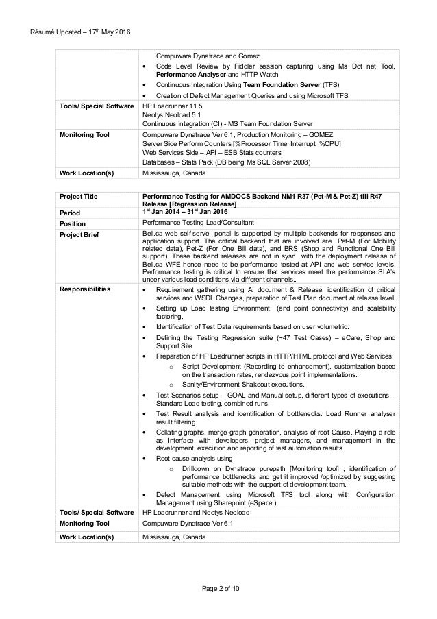 performance testing resume - Acur.lunamedia.co