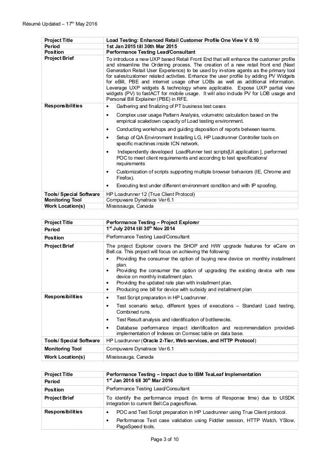 performance tester resume resume ideas. Black Bedroom Furniture Sets. Home Design Ideas