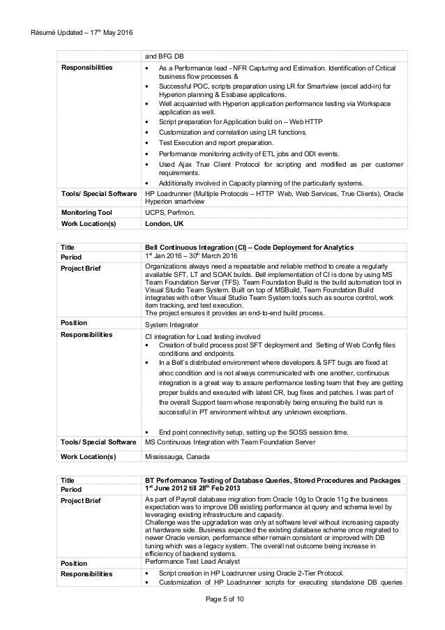 Pretty Performance Testing Resume Loadrunner Contemporary - Resume ...
