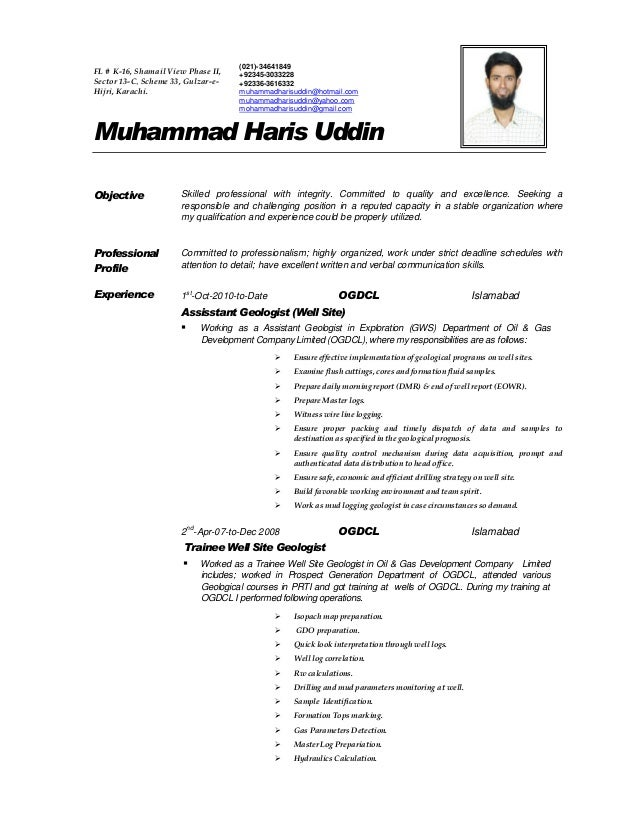 geologist cover letter haris resume 21940 | haris resume 1 638