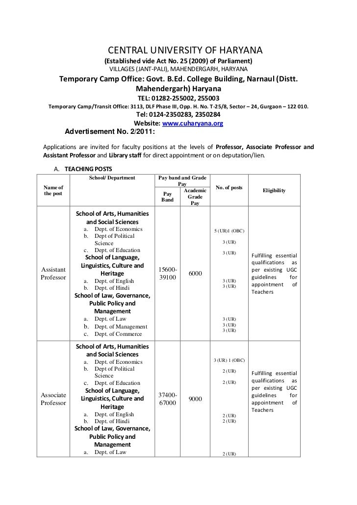 CENTRAL UNIVERSITY OF HARYANA                           (Established vide Act No. 25 (2009) of Parliament)                ...