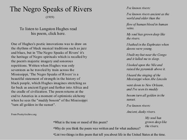 hughes langston s when the negro was Langston hughes negro is quite a rare and popular topic for writing an essay,  langston hughes's viewed south as if it were a huge nightmare unlike his fellow.
