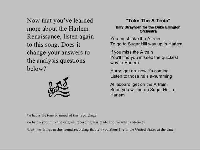 an analysis of the influence of the harlem renaissance on hughess poems Harlem became one of the largest african american communities in the united states, and during the harlem renaissance became a center for art and literature many great writers came about during this time, one of which was langston hughes.