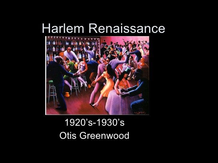 Harlem Renaissance  1920's-1930's Otis Greenwood