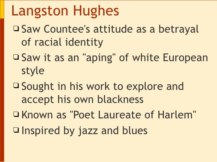 """a comparison of the differences in the writing styles of langston hughes and countee cullen The vernacular in african-american poetry: hughes  langston hughes embraced the black side of  ex-coloured man"""" and countee cullen in his """"heritage ."""