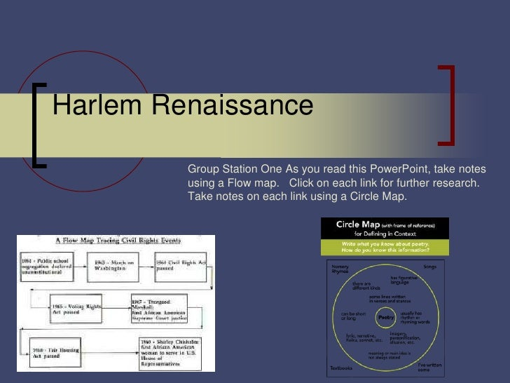 Harlem Renaissance         Group Station One As you read this PowerPoint, take notes         using a Flow map. Click on ea...