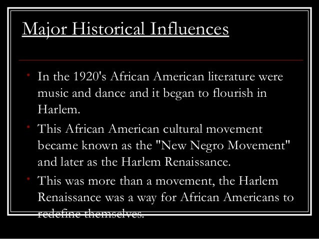an overview of the harlem renaissance an african american cultural movement Several factors laid groundwork for the harlem renaissance movement the  naacp was founded to advance the rights of blacks in the us with education,.